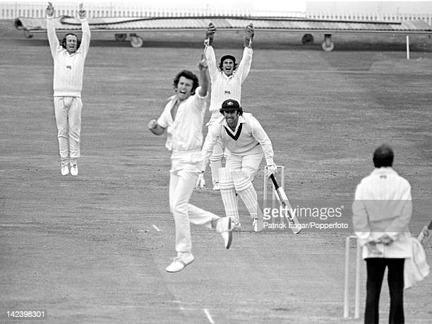 """World Cup semi final 1975 England v Australia at Headingley Fletcher, Snow and Knott appeal successfully for lbw against Ian Chappell, David..."
