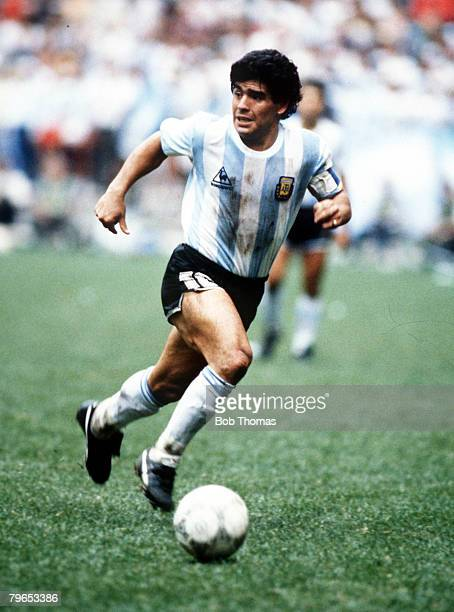 World Cup Semi Final Azteca Stadium Mexico 25th June Argentina 2 v Belgium 0 Argentina's Diego Maradona on the ball