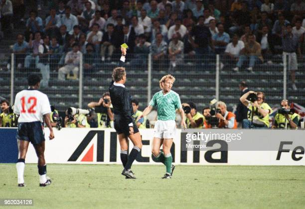 World Cup Semi Final match the Stadio delle Alpi in Turin Italy West Germany 1 v England 1 West Germany's Andreas Brehme is shown the yellow card by...