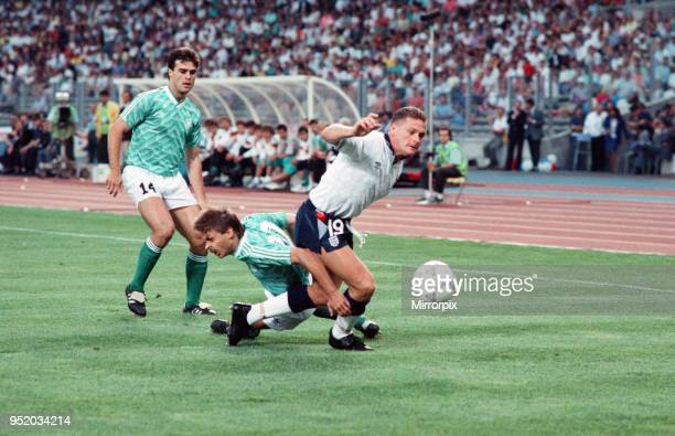 World Cup Semi Final match the Stadio delle Alpi in Turin, Italy. West Germany 1 v England 1 . England's Paul Gascoigne gets away from Olaf Thon and...