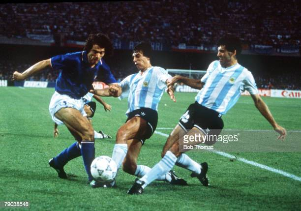 World Cup Semi Final Naples Italy 3rd July Argentina 1 v Italy 1 Italy's Roberto Donadoni is challenged for the ball by Argentina's Juan Ernesto...
