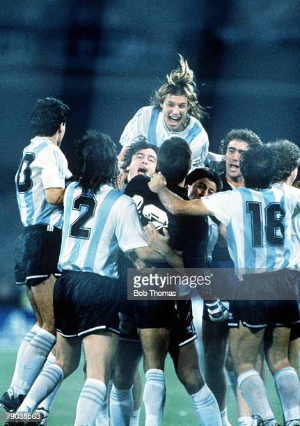 World Cup Semi Final Naples Italy 3rd July Argentina 1 v Italy 1 Argentina's Claudio Caniggia leads the team celebrations after their win over hosts...