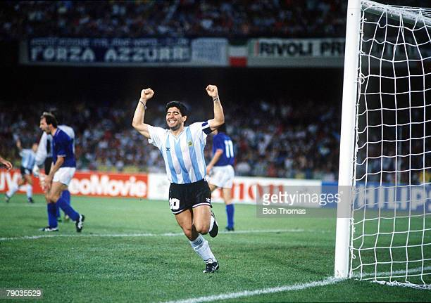 World Cup Semi Final Naples Italy 3rd July Italy 1 v Argentina 1 Argentina's Diego Maradona celebrates the equalising goal scored by Claudio Caniggia...