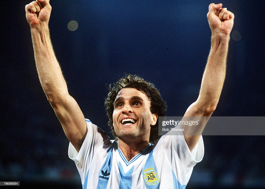 1990 World Cup Semi Final. Naples, Italy. 3rd July, 1990. Italy 1 v Argentina 1 (Argentina win 3-2 on penalties). Argentina's Oscar Ruggeri celebrates as his team reach the World Cup Final after eliminating hosts Italy in a penalty shoot out. : News Photo