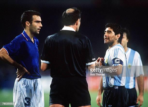 World Cup Semi Final Naples Italy 3rd July Italy 1 v Argentina 1 Italian captain Giuseppe Bergomi and Argentine captain Diego Maradona are spoken to...
