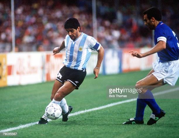 World Cup Semi Final Naples Italy 3rd July Italy 1 v Argentina 1 Argentina's Diego Maradona shields the ball from Italy's Giuseppe Bergomi