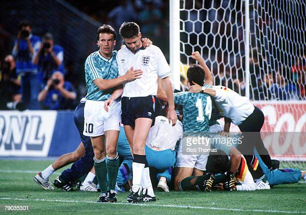 World Cup Semi Final Turin Italy 4th July West Germany 1 v England 1 aet England's Chris Waddle is consoled by West German captain Lothar Matthaus...