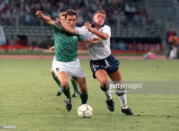 World Cup Semi Final Turin Italy 4th July West Germany 1 v England 1 England's Paul Gascoigne battles for the ball with West Germany's Klaus...
