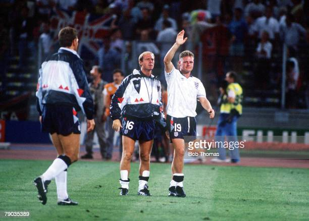 World Cup Semi Final Turin Italy 4th July West Germany 1 v England 1 A tearful Paul Gascoigne waves to the crowd at the end of the match as England...
