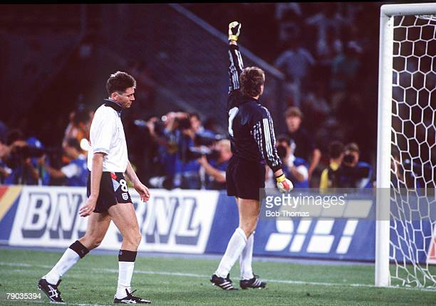 World Cup Semi Final Turin Italy 4th July West Germany 1 v England 1 West German goalkeeper Bodo Illgner celebrates as his team reach the World Cup...