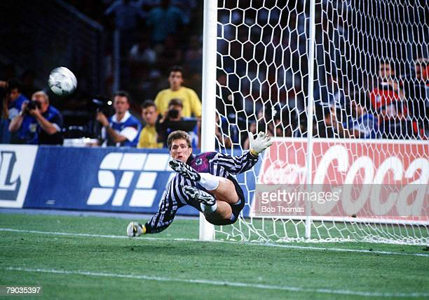 World Cup Semi Final Turin Italy 4th July West Germany 1 v England 1 West German goalkeeper Bodo Illgner saves Stuart Pearce's penalty kick in the...
