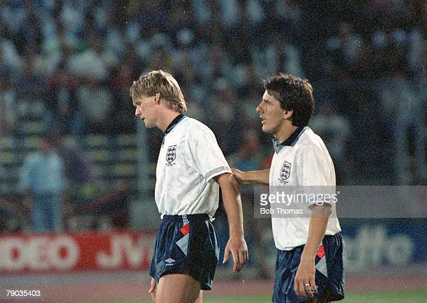 World Cup Semi Final Turin Italy 4th July West Germany 1 v England 1 England's Stuart Pearce is consoled by Peter Beardsley after his penalty miss in...