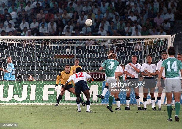 World Cup Semi Final Turin Italy 4th July West Germany 1 v England 1 England 's Paul Parker deflects a free kick from West Germany's Andreas Brehme...