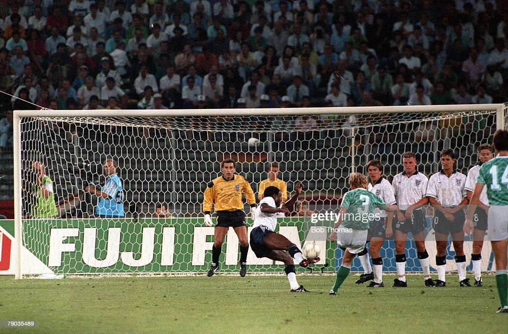 1990 World Cup Semi Final. Turin, Italy. 4th July, 1990. West Germany 1 v England 1 (West Germany win 4-3 on penalties). England 's Paul Parker deflects a free kick from West Germany's Andreas Brehme in to his own net past goalkeeper Peter Shilton. : News Photo