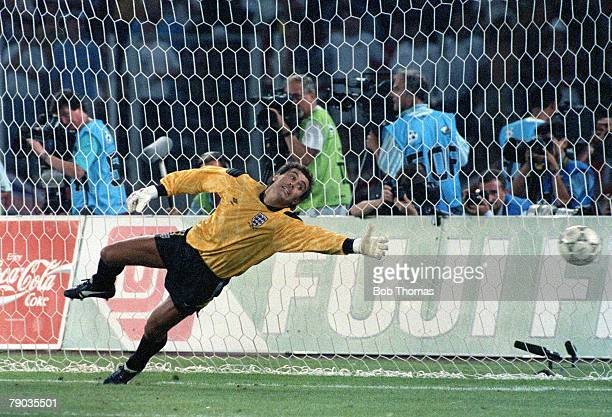 World Cup Semi Final Turin Italy 4th July West Germany 1 v England 1 England goalkeeper Peter Shilton dives during the penalty shoot out