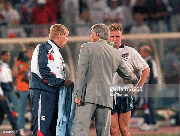 World Cup Semi Final Turin Italy 4th July West Germany 1 v England 1 England's manager Bobby Robson and Doctor Crane console an emotional Paul...