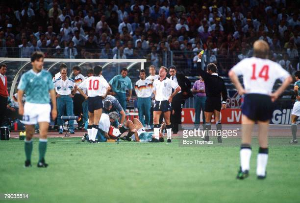 World Cup Semi Final Turin Italy 4th July West Germany 1 v England 1 England's Paul Gascoigne is shown the yellow card by the referee