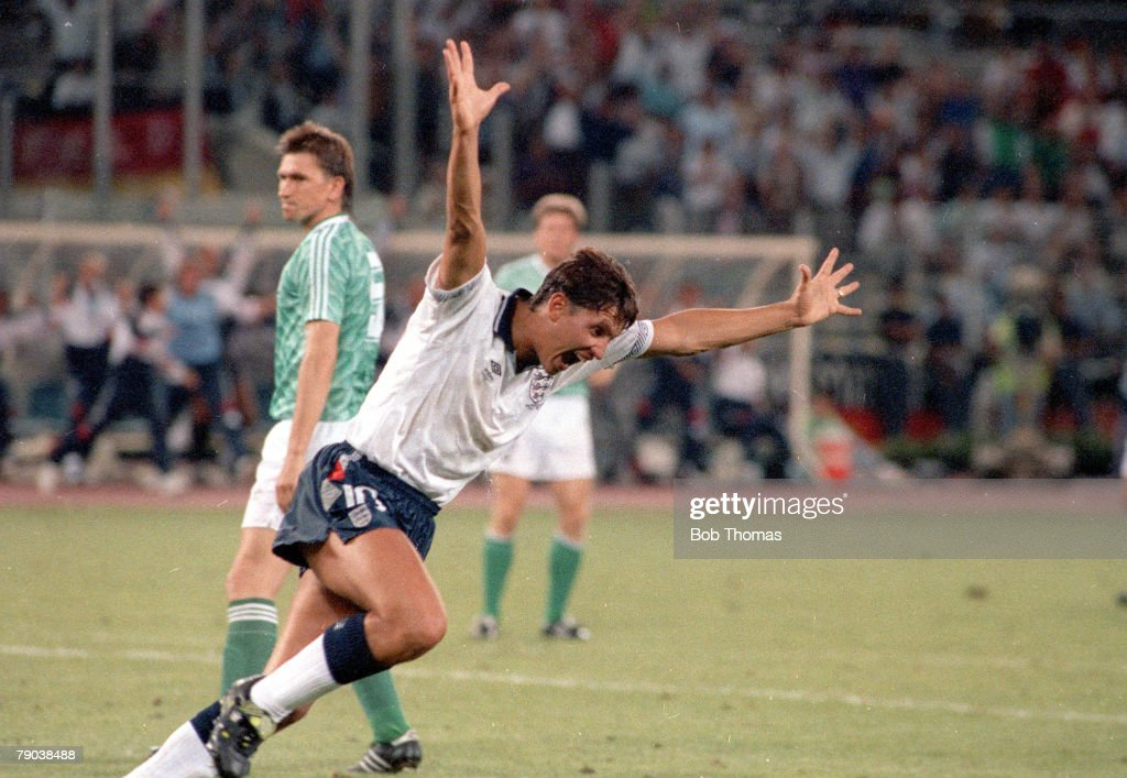 World Cup Semi Final, Turin, Italy, 4th July, 1990, West Germany 1 v England 1, (West Germany win 4-3 on penalties), England's Gary Lineker celebrates after scoring the equalising goal to force the match in to extra time