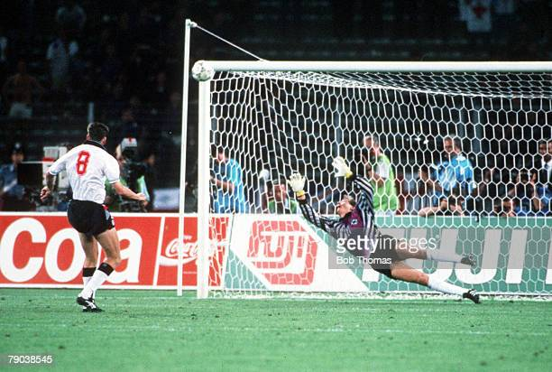 World Cup Semi Final Turin Italy 4th July West Germany 1 v England 1 England's Chris Waddle fires his penalty over the bar past the dive of West...