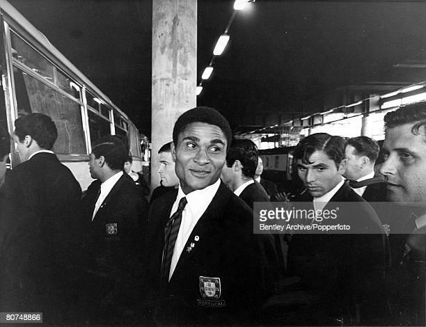 World Cup Semi Finals 24th July London England Portugal's Eusebio pictured with the rest of the team as Portugal arrive in London for the 1966 World...