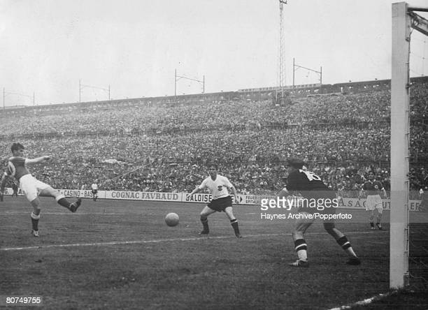 World Cup SemiFinal Basle Switzerland 30th June Germany 6 v Austria 1 A German forward shoots but Austrian goalkeeper Zeman manages to save