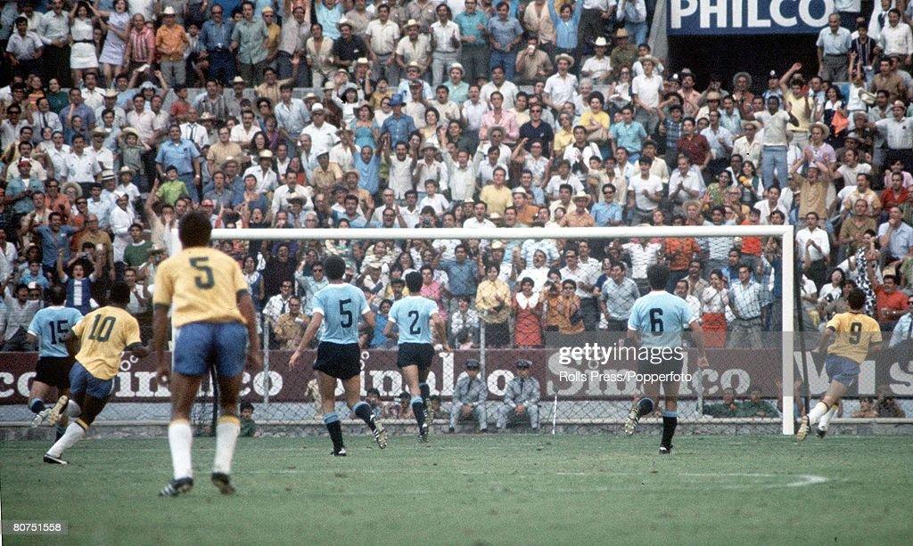 1970 World Cup Semi-Final Guadalajara, Mexico. 17th June, 1970. Brazil 3 v Uruguay 1. Brazilian forwards attack the Uruguayan goal during the match . : News Photo