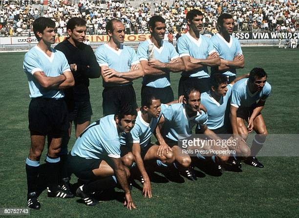World Cup SemiFinal Guadalajara Mexico 17th June Brazil 3 v Uruguay 1 The Uruguayan team line up before their semifinal match with Brazil