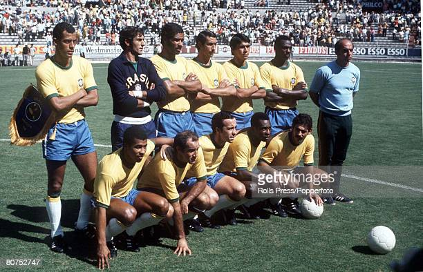 World Cup SemiFinal Guadalajara Mexico 17th June Brazil 3 v Uruguay 1 The Brazilian team line up before their match with Uruguay