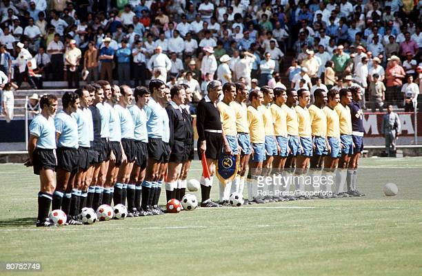 World Cup SemiFinal Guadalajara Mexico 17th June Brazil 3 v Uruguay 1 The two teams line up with officials as they listen to the national anthems...