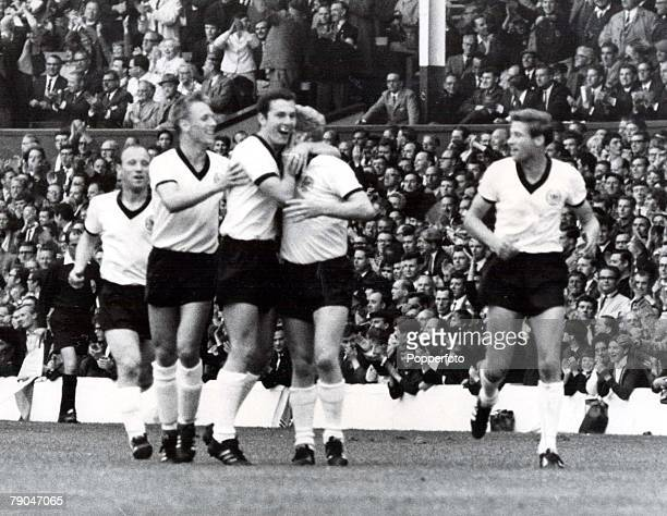 World Cup SemiFinal Liverpool England 25th July West Germany 2 v Soviet Union 1 West Germany players rejoice after Helmut Haller had scored their...