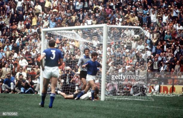 World Cup Semi-Final, Mexico City, Mexico, 17th June Italy 4 v West Germany 3, West German striker Gerd Muller scores his team's third goal past...
