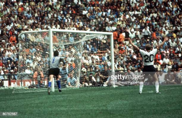 World Cup SemiFinal Mexico City Mexico 17th June Italy 4 v West Germany 3 West German player Grabowski raises his arms in celebration after Italian...