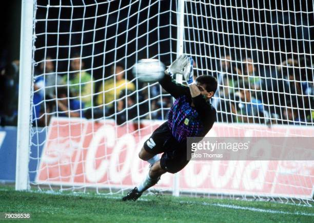 World Cup SemiFinal Naples Italy 3rd July Argentina 1 v Italy 1 Argentine goalkeeper Sergio Goycochea dives to save Roberto Donadoni's penalty in the...