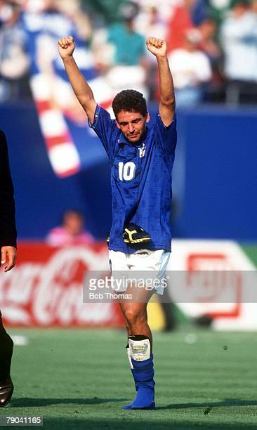 World Cup SemiFinal New Jersey USA 13th July Italy 2 v Bulgaria 1 Italy's Roberto Baggio celebrates with his boots around his neck at the end of the...
