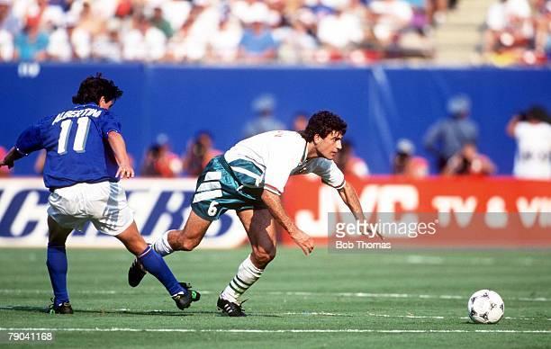 World Cup SemiFinal New Jersey USA 13th July Italy 2 v Bulgaria 1 Bulgaria's Zlatko Iankov beats Demetrio Albertini