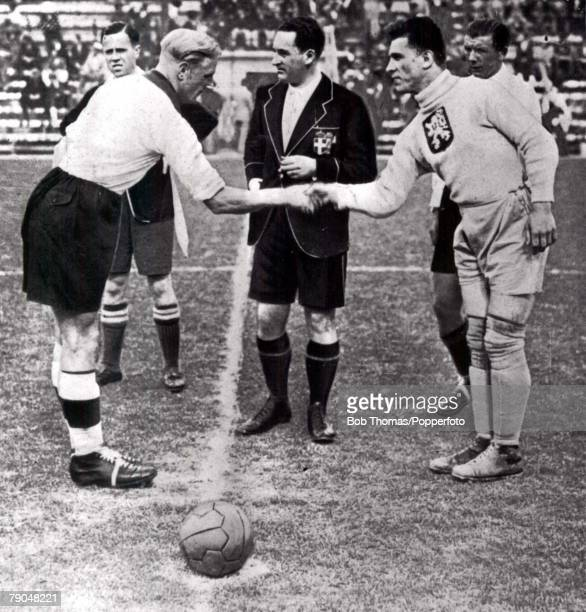 World Cup SemiFinal Rome Italy 3rd June Czechoslovakia 3 v Germany 1 German captain Szepan shakes hands with Czech captain Planicka before the match