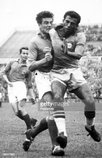 World Cup SemiFinal Stockholm Sweden 24th June Brazil 5 v France 2 Brazil's Vava clashes with France's Marcel during the match