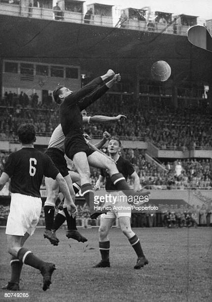 World Cup SemiFinals Lausanne Switzerland 30th June Hungary 4 v Uruguay 2 Hungarian goalkeeper gyula Grosics punches clear a Uruguayan attack