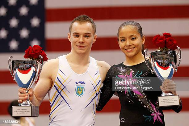 World Cup Series Champions Oleg Verniaiev of Ukraine left and Jessica Lopez of Venezuela right are recognized during the ATT American Cup competition...