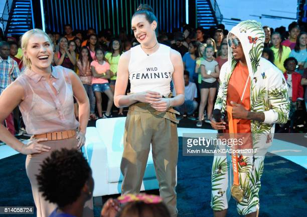 World Cup skiier Lindsey Vonn WNBA player Breanna Stewart and TV personality Nick Cannon participate in the Beats N Seats competition during...