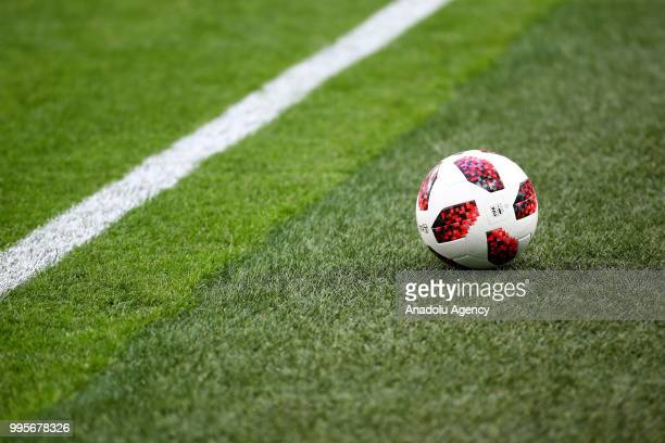 World Cup Soccer Ball is seen on the field before the 2018 FIFA World Cup Russia semi final match between France and Belgium at the Saint Petersburg...
