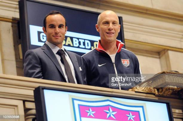 S World Cup Star Landon Donovan and US Men's Natonal Team Coach Bob Bradley ring the closing bell at the New York Stock Exchange on June 30 2010 in...