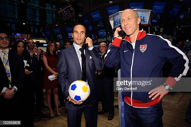 S World Cup Star Landon Donovan and US Men's Natonal Team Coach Bob Bradley seen after ringing the closing bell at the New York Stock Exchange on...