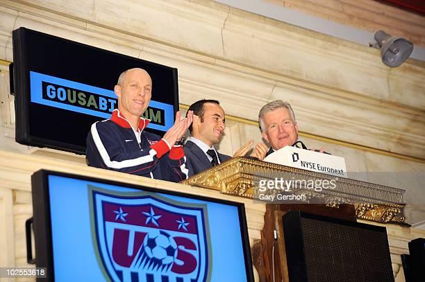 US World Cup Star Landon Donovan US Men's Natonal Team Coach Bob Bradley and CEO New York Stock Exchange Duncan Niederauer ring the closing bell at...