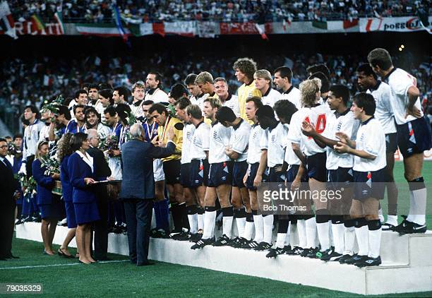 World Cup Third Place Play Off Bari Italy 7th July Italy 2 v England 1 FIFA President Joao Havelange presents the England squad with their medals as...