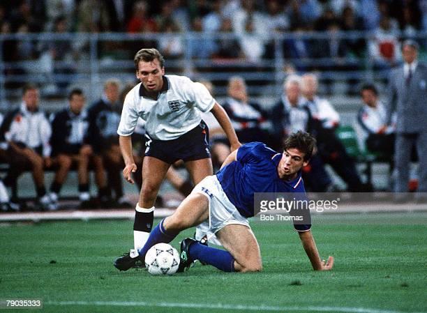 World Cup Third Place Play Off, Bari, Italy, 7th July Italy 2 v England 1, Italy's Nicola Berti is tackled by England's David Platt