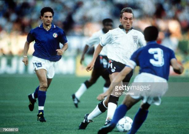 World Cup Third Place Play Off Bari Italy 7th July Italy 2 v England 1 England's David Platt is challenged for the ball by Italian defenders