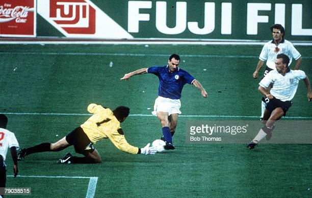 World Cup Third Place Play Off Bari Italy 7th July Italy 2 v England 1 Italy's Salvatore Schillaci takes the ball past England goalkeeper Peter...