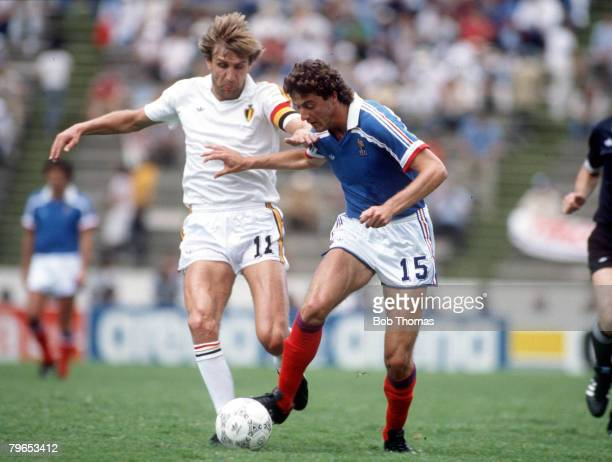 World Cup Third Place Play Off Puebla Mexico 28th June France 4 v Belgium 2 Begium's Jan Ceulemans battles for the ball with France's Phillipe...