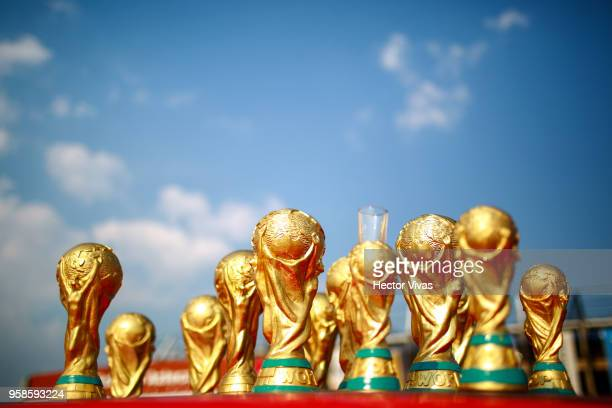 World Cup trophies toy replicas are seen during the semifinals second leg match between America and Santos Laguna as part of the Torneo Clausura 2018...